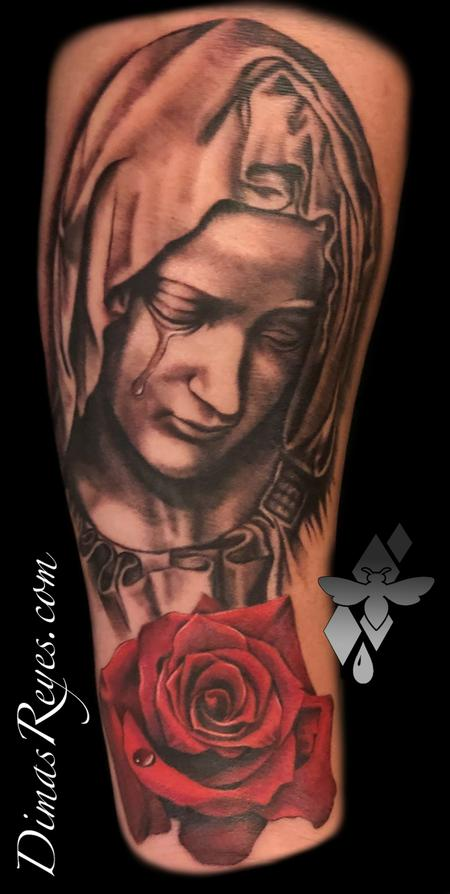 Religious Mary - Black and Grey Virgin Mary with Rose tattoo