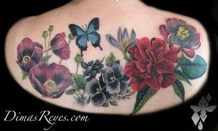 Flower Lily - Realistic Color Butterfly and Flowers Tattoo