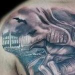 Black and Grey Heaven and Hell tattoo Tattoo Design Thumbnail