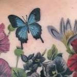 Realistic Color Butterfly and Flowers Tattoo Tattoo Design Thumbnail