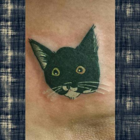 General - Black Kitty Head - Simple Tattoo Style
