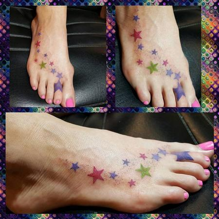 Fantasy Fairy - Colorful Stars Tattoo up the Foot
