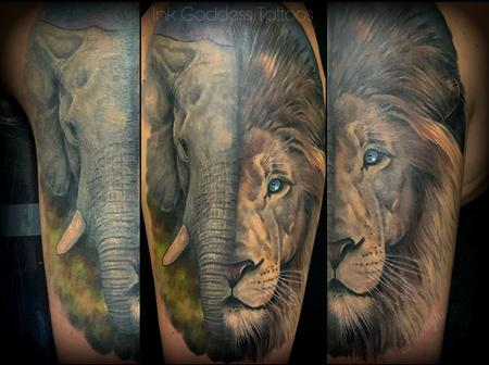 Nature Animal Panther - Elephant and Lion half sleeve by Haylo
