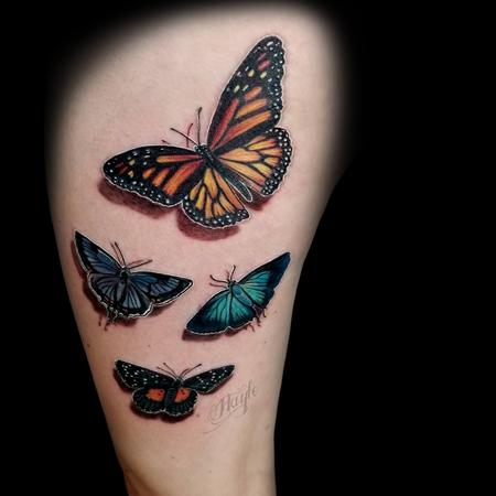 Nature Animal Dragonfly - 3D Butterfly tattoo by Haylo