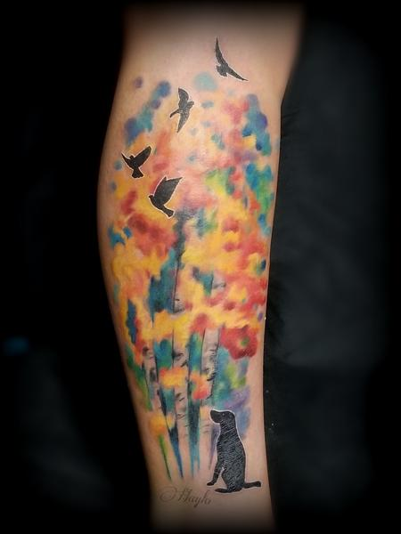 Body Part Ankle - Watercolor Trees with Dog & Birds silhouettes tattoo by Haylo