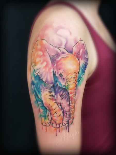 Misc - Baby Elephant watercolor freehand tattoo by Haylo