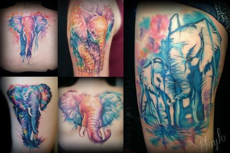 Body Part Foot - Watercolor style elephant tattoos by Haylo