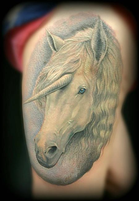 Fantasy Pheonix - Unicorn thigh tattoo