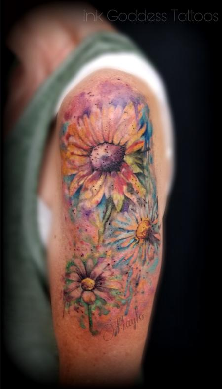 Flower Rose - Sunflower Watercolor tattoo by Haylo