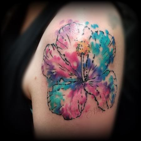 Small - Watercolor Hibiscus shoulder tattoo by Haylo
