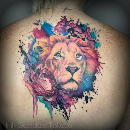 Illustrations - Lion and Rose watercolor fusion design by Haylo