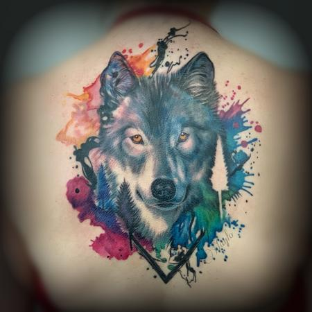 Abstract - Watercolor & realism integration Wolf back piece