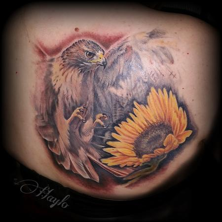 Flower Chrysanthemum - Red Tail Hawk and Sunflower by Haylo