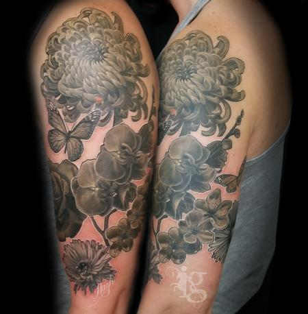 Black and Gray - Floral black and gray half sleeve tattoo by Haylo