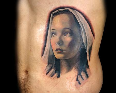 Portrait - The Virgin Mary portrait tattoo by Haylo