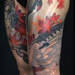 Crane and maple leaves Tattoo Design Thumbnail