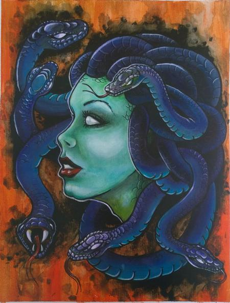 Art Galleries - Medusa Color Painting Acrylic on Board - 117815