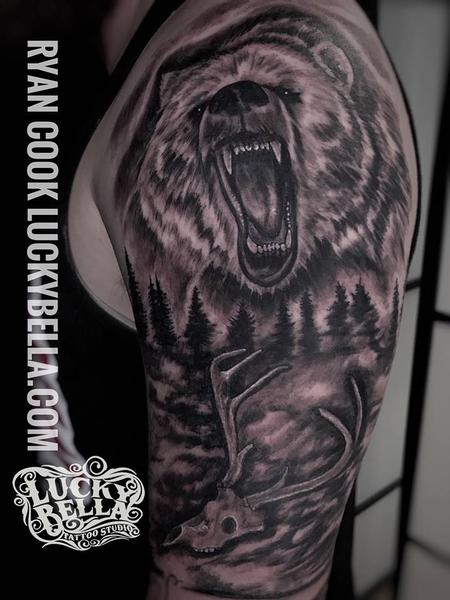 tattoos/ - Bear and Nature Scene - 134906