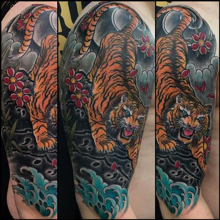 Traditional Asian - Asian Tiger Half Sleeve with Finger Waves