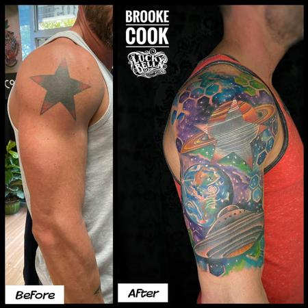 Rework - Black Star Space Coverup by Brooke Cook at Lucky  Bella Tattoos in North Little Rock, Arkansas