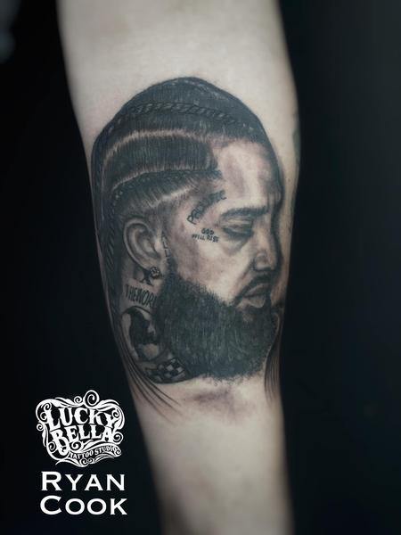 Family - Nipsey Hussle Portrait by Ryan Cook at Lucky Bella Tattoos in North Little Rock