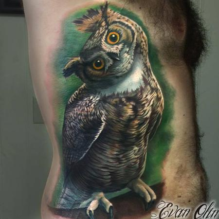 tattoos/ - Color realistic owl tattoo - 116978