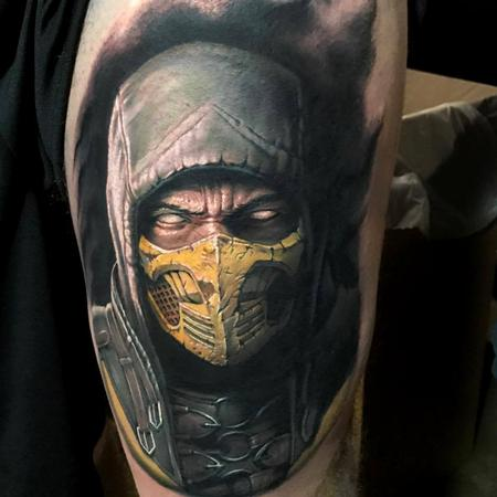 tattoos/ - Scorpion from Mortal Kombat portrait tattoo - 125911