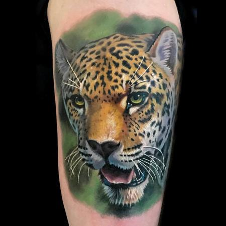 tattoos/ - color realistic cheetah tattoo done at the Philadelphia Tattoo Arts Convention - 125912