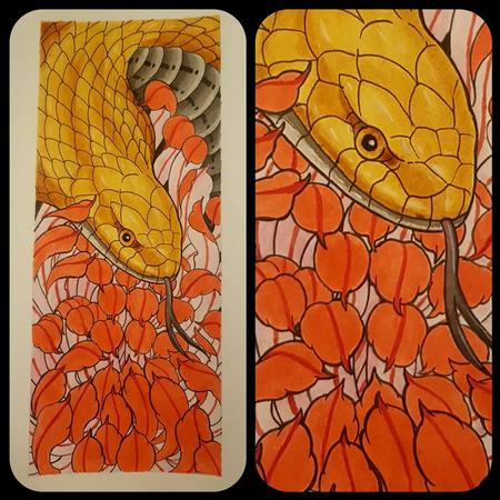 Art Galleries - Gloden cobra and chrysanthemum - 133702