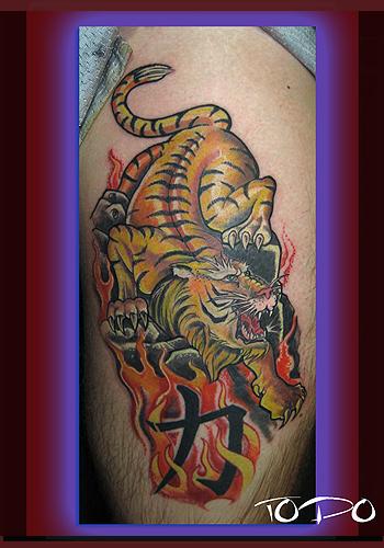 tiger tattoos on calf. Animal Tiger Tattoos,