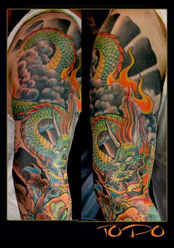 dragon sleeve tattoos. fish tattoo koi dragon. omega