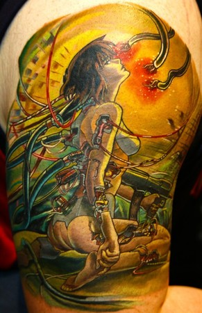 From 1000 Tattoos edited by Henk Schiffmacher. Ghost in the Shell Tattoos