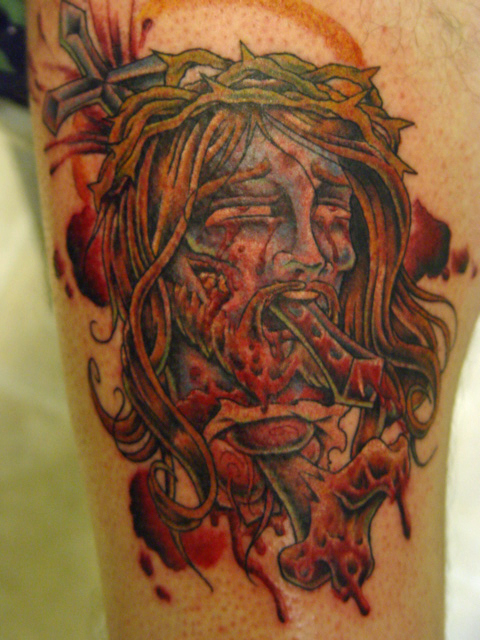jesus head tattoo
