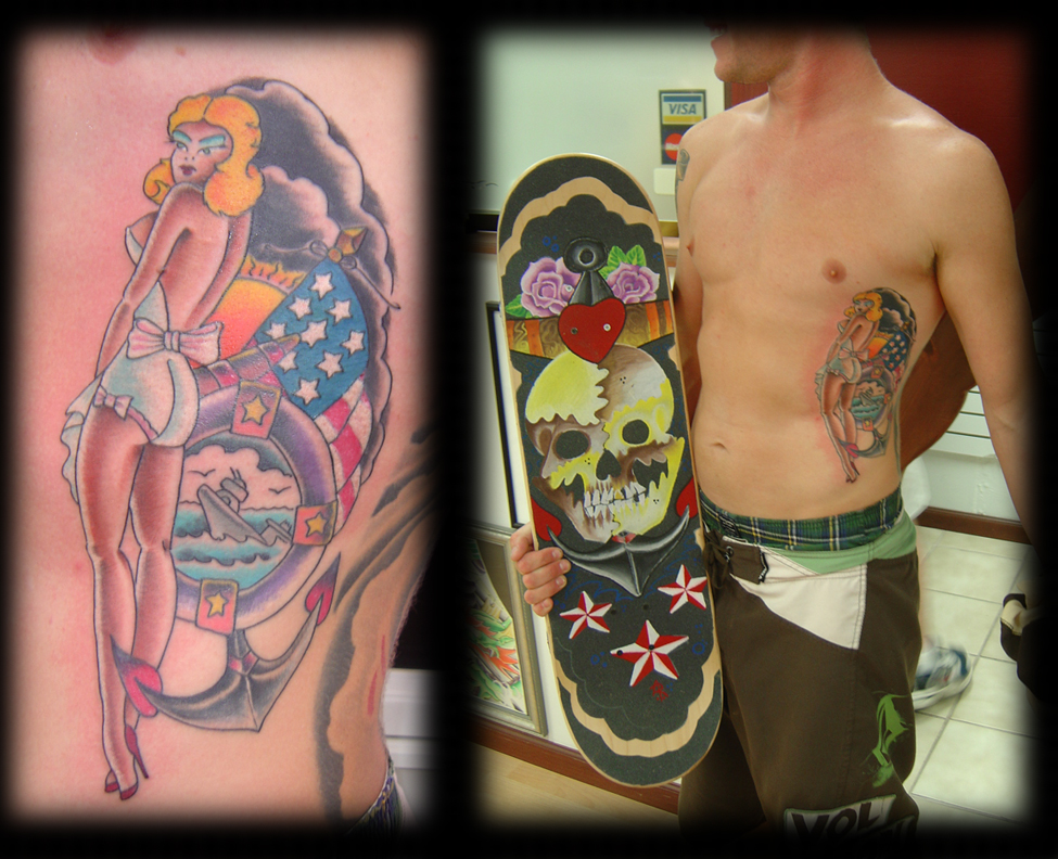 Classic old school tattoo imagery mixes with mythological dreams,
