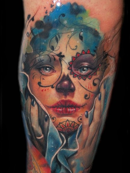 day of dead skull tattoo designs. day of dead girl tattoo design