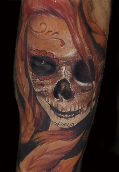 mexican sugar skull tattoo meaning. Alex De Pase - Day of the dead skull