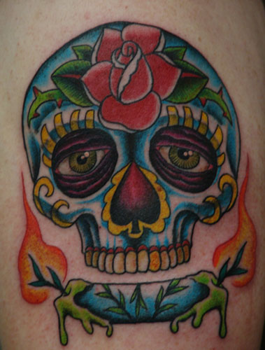 sugar skulls day of dead tattoos. day of the dead skull tattoo