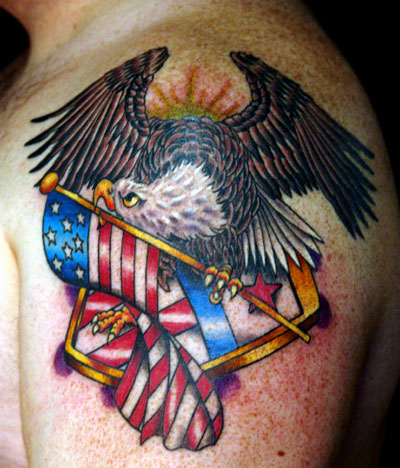 Traditional American Tattoo on Looking For Unique N American Tattoos Tattoos  Eagle With Flag And