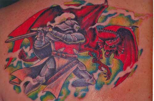 Tattoo Galleries: dragon and knight Tattoo Design
