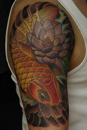 Japanese Tattoo With Koi Fish Half Tattoo Designs Gallery