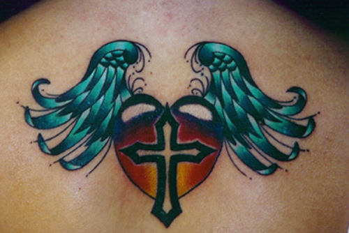 Looking for unique Rich DePue Tattoos? Heart and Cross w/ Wings