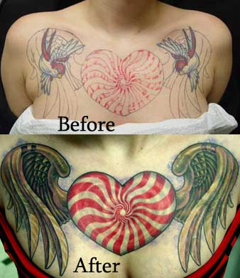 Hearts Tattoos on Heart Wings Tattoos Pictures Specially Full Colored Tattoo Designs