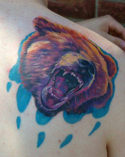 Bear Tattoo Designs Pictures. Tattoo is a fine art in which a sign or a mark
