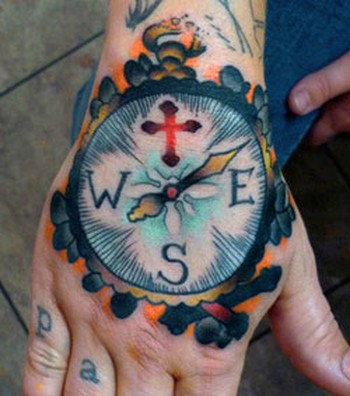Compass Hand Tattoo