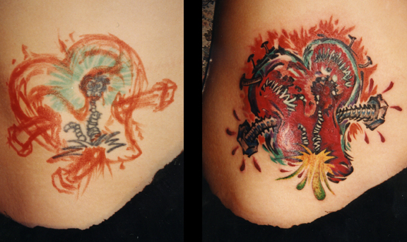 Heart Tattoo Cover Up. Chris Dingwell - email. Placement: Stomach