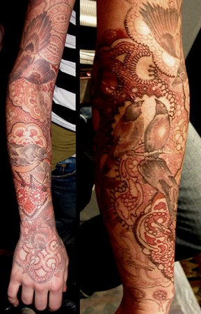 Looking for unique Sleeve tattoos Tattoos? Bird and Lace Sleeve