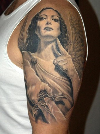 Angel Tattoo Meanings On Shoulder Designs With Lettering