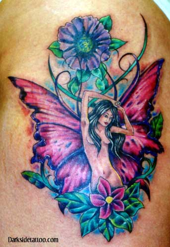 Looking for unique Tattoos? fairy and flowers tattoo