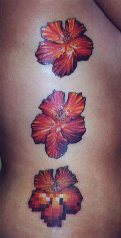 Looking for unique Tattoos? Pixel Flowers. click to view large image