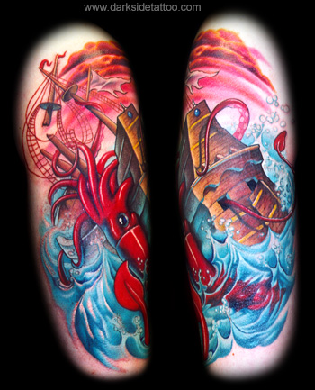 boat tattoo. Tattoo Galleries: Giant Squid Tattoo Design